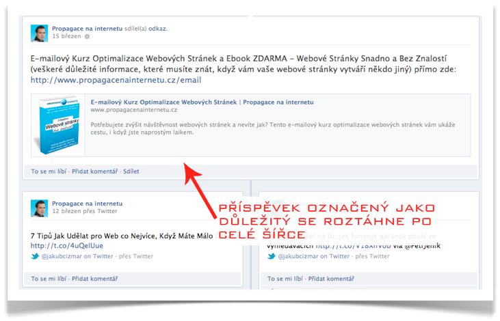 Facebook - důležitý příspěvek