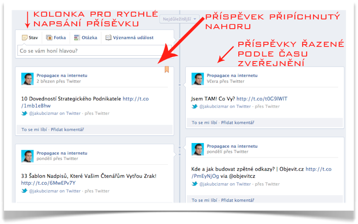 Facebook Timeline - příspěvky
