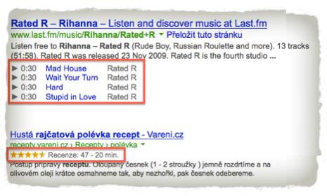 Příklady Google Rich Snippets