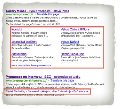 Příklad Google Sitelinky