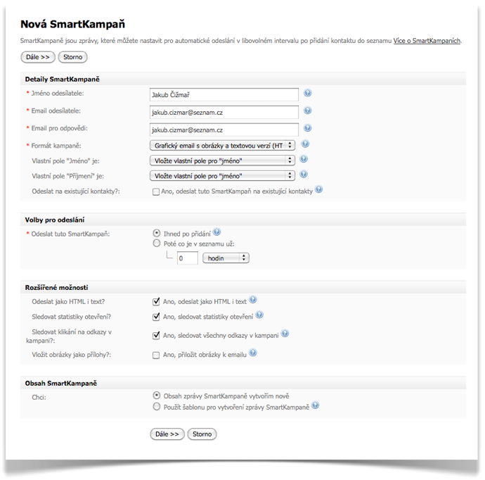 SmartEmailing - nová SmartKampaň