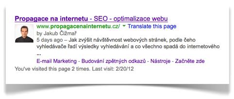 Výsledné Google Rich Snippets a Sitelinks