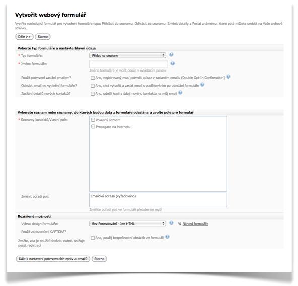 SmartEmailing - Vytvořit webový formulář